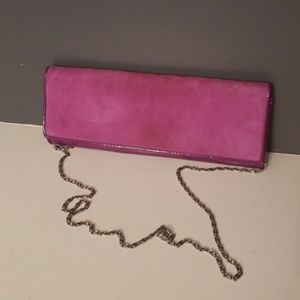 Purple Suede And Patent Clutch